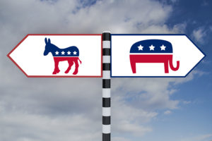 Render illustration of Democrat-Republican icons on road sign