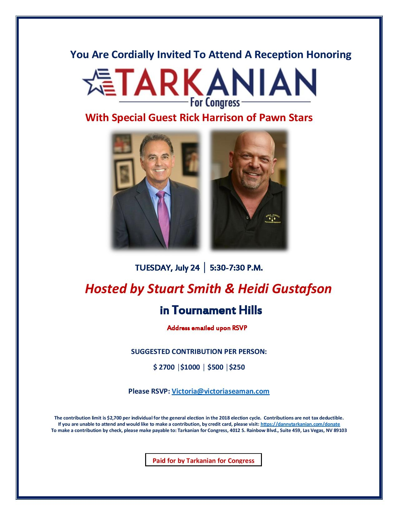 A reception honoring Danny Tarkanian with special guest Rick Harrison @ Hosted by Stuart Smith and Heidi Gustafson